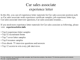 Free Sle Letter Of Employment Certification Car Sales Associate Experience Letter