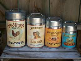 vintage metal kitchen canister sets tin metal country rooster 4 vintage style canister set