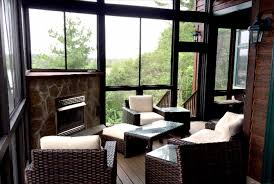 Outdoor Screen House by Screen Porch With Cozy Fireplace