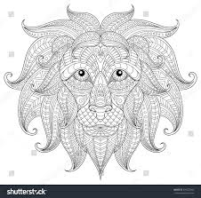 lion head antistress coloring page stock vector 394227466
