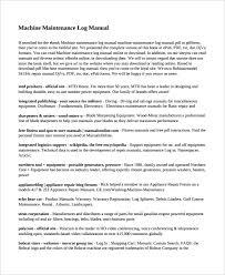 maintenance log template u2013 10 free word excel pdf documents