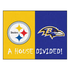 Nfl Area Rugs Fanmats Nfl Steelers Ravens Yellow House Divided 2 Ft 10 In X