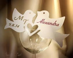 wine glass with initials two birds wedding place cards personalized place card wedding
