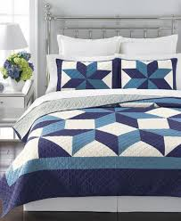 Martha Stewart Duvet Covers Martha Stewart Geo Stars Reversible Quilt Blue Full Queen
