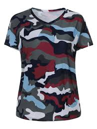 Plus Size Camouflage Clothing Plus Size Camouflage Print V Neck T Shirt Acu Camouflage Xl In
