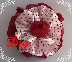 ruffled ribbon flor de fita franzida diy ruffled ribbon flower diy lazos y