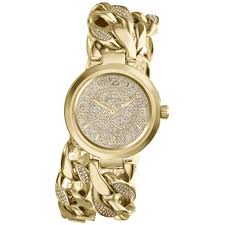 gold ladies bracelet watches images Lyst michael kors womens ellie pav goldtone stainless steel jpeg