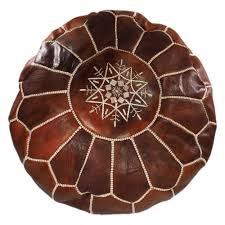 Leather Moroccan Ottoman by Natural Tan Leather Moroccan Pouf Moroccan Dreams Handmade