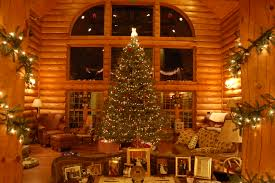 pictures log homes decorated christmas home pictures