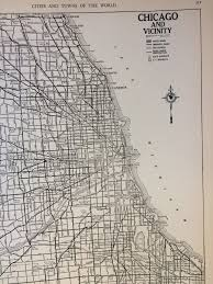 Illinois Road Construction Map by Vintage 1940s Chicago Map Rand Mcnally Atlas Map Of Chicago