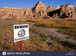 South Dakota national parks images Beware of rattlesnakes warning notice badlands national park jpg