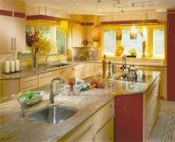 kitchen yellow kitchen walls ideas gray tile backsplash island