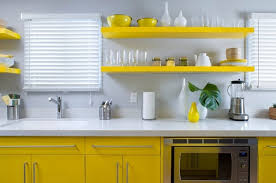 Yellow Kitchens With White Cabinets - yellow beautiful kitchen cabinets with grey blacksplash and