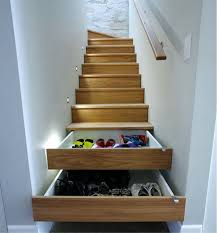 interior awesome open shelves under stairs bright lighting ideas