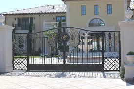 automatic ornamental iron driveway gates mediterranean entry