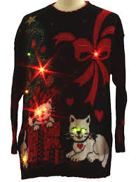 vintage 1980 u0027s cat tastic lightup ugly christmas sweater 80s