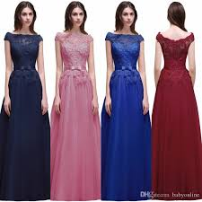 2017 new cap sleeves burgundy prom dresses a line bateau neck lace