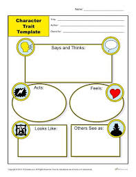character trait template reading comprehension