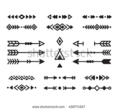american indian design elements set borders arrows