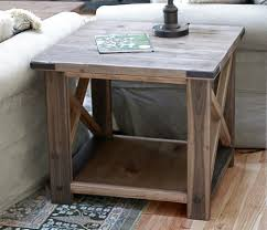 X Side Table Oxidized X End Table