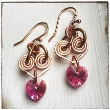 wire earrings pink hearts swarovski copper wire earrings rhonda