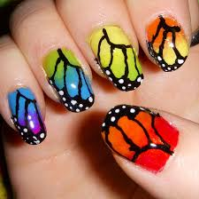 rainbow butterfly nail by quixii on deviantart