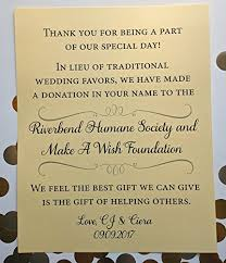 wedding gift donation to charity in lieu of wedding favors charity donation wedding