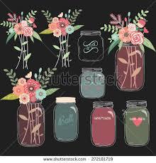 Chalkboard Wedding Program Template Chalkboard Mason Jar Wedding Flower Collections Stock Vector