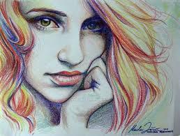 drawn stare crayon pencil and in color drawn stare crayon