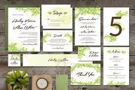 wedding invitation set leaf wedding invitation set invitation templates creative market