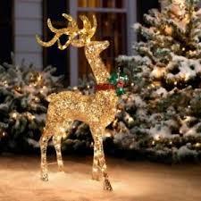 53 outdoor lighted pre lit gold reindeer deer buck