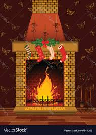 christmas fireplace scene royalty free vector image