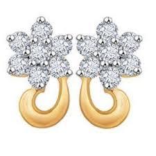 real gold earrings avsar real gold and diamond fancy flower shape earrings ave022