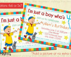 caillou party supplies caillou invitation etsy