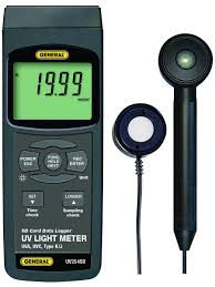 uva uvc light meter with excel formatted data logging sd card and