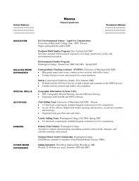 sample college student resume for internship sample student