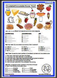 Countable And Uncountable Nouns Teaching Esl Food Worksheets Countable Nouns