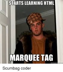 Meme Html - starts learning html marquee tag scumbag coder tagged meme on me me