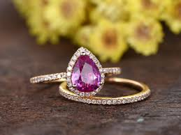 pink sapphires rings images 6x8mm pear cut natural pink sapphire ring set wedding rings solid jpg