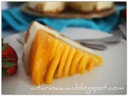 Kek Mango resepi chilled mango cheese cake kek keju mangga dingin resipi