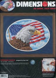 Freedom Eagle Cross Stitch Kit Flag 4th Of July Stamp 14ct