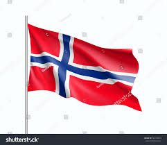 waving flag norway state illustration european stock vector