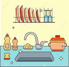 cartoon dirty kitchen sink cartoon stack dishes clean cartoons