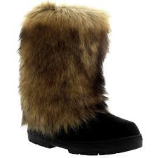 womens fur boots uk womens rabbit fur covered waterproof eskimo winter