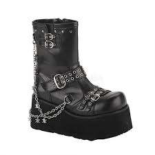 women s black motorcycle boots clash womens motorcycle boots with charm chain demonia clash 430