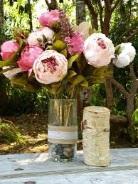 rustic floral centerpieces with labeled hearts