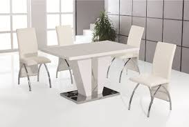 white high gloss table white high gloss dining table with 4 white faux leather chrome chairs