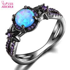 birthstone engagement rings aliexpress buy amorui vintage black gold color blue opal