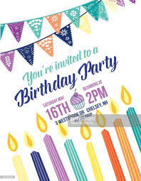 birthday invitation template with bunting flags candles and text
