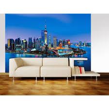 ideal decor 100 in x 144 in shanghai skyline wall mural dm135 shanghai skyline wall mural